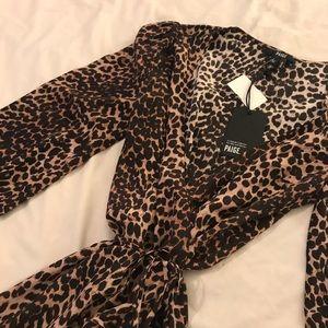 PAIGE leopard wrap dress